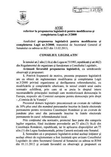 AVIZ referitor la propunerea legislativă pentru modificarea şi ...