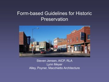 Form-Based Guidelines for Historic Preservation - Omaha By Design