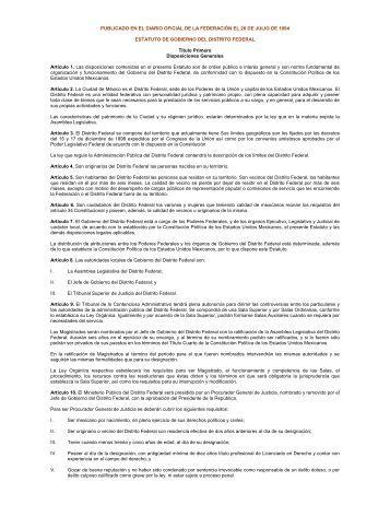 estatuto de gobierno del distrito federal - Contraloría General