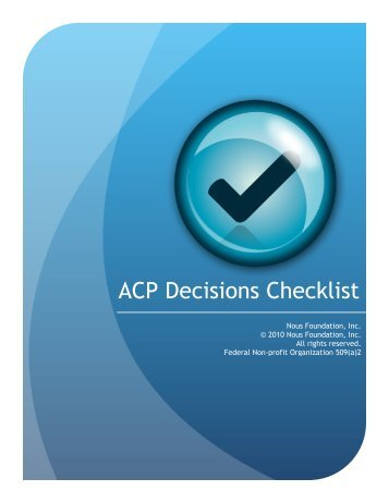 Advanced Care Planning Decisions Checklist - Hadassah Medical ...