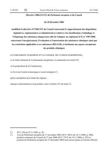 Directive 2006/121/CE du Parlement européen et du ... - EUR-Lex
