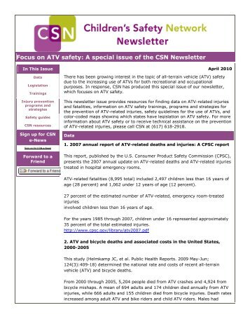 Focus on ATV safety: A special issue of the CSN Newsletter