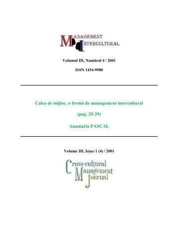 Anamaria PASCAL - Management Intercultural