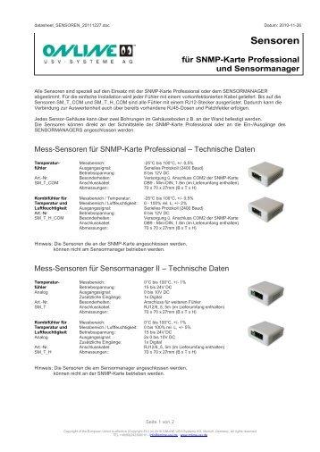Datenblatt Sensoren für SNMP-Karte und Sensormanager