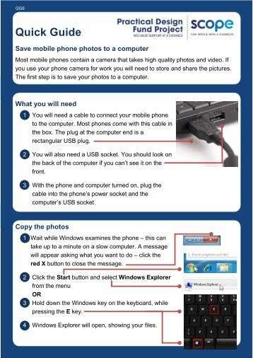 Quick Guide: Save mobile phone photos to a Windows ... - Scope