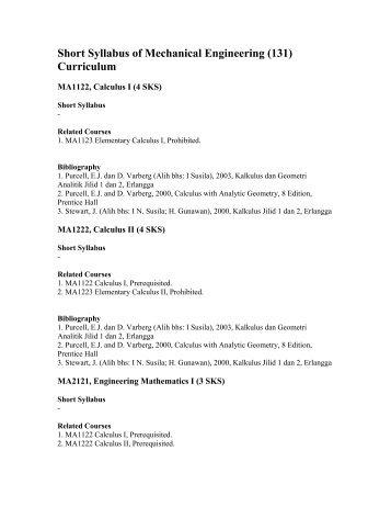 Short Syllabus of Mechanical Engineering (131) Curriculum - ITB