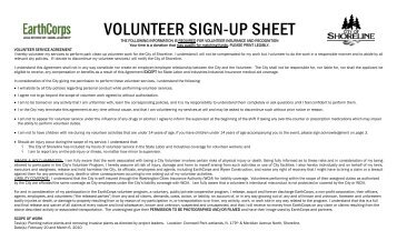 VOLUNTEER SIGN-UP SHEET - EarthCorps