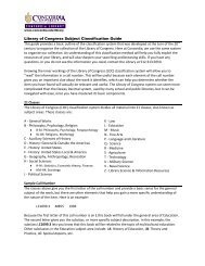 Library of Congress Subject Classification Guide This guide ...
