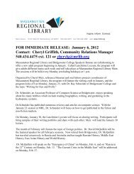 FOR IMMEDIATE RELEASE: January 6, 2012 Contact: Cheryl ...