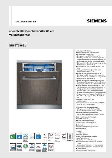 SpeedMatic Geschirrspüler 60 Cm Vollintegrierbar SN66T096EU