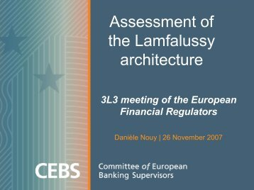 Assessment of the Lamfalussy architecture - European Banking ...