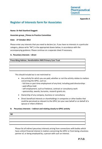 Bernard Kelly Declaration Of Interest Form