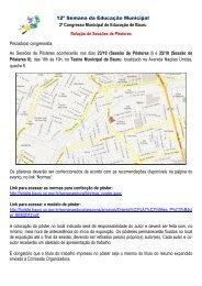 Trabalhos Aprovados - Pôster - Prefeitura Municipal de Bauru