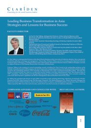 Leading Business Transformation in Asia ... - Clariden Global