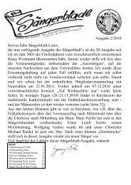 Ausgabe 2/2010 Servus liebe Sängerbladl-Leser, die nun ...