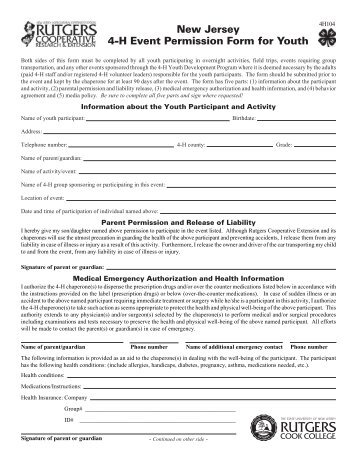 4-H Event Permission Form for Youth - Rutgers-atlantic.org