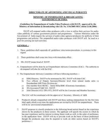 Audio Visual Guidelines and Proforma 2006(English-pdf)