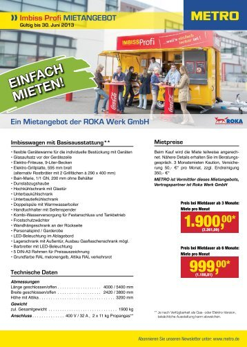 Imbiss Profi MIETANGEBOT - Metro