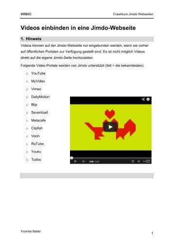 Videos einbinden in eine Jimdo-Webseite
