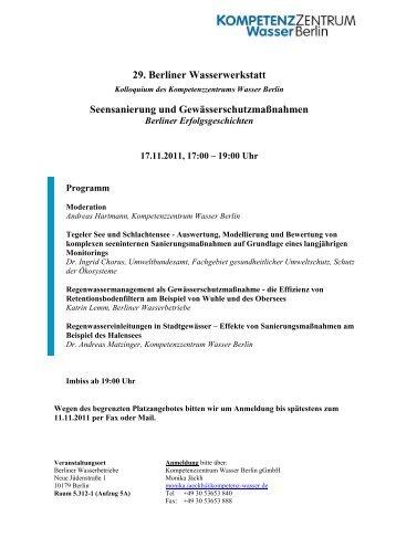 29. Berliner Wasserwerkstatt - Kompetenzzentrum Wasser Berlin