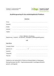 Ausbildungsvertrag für das studienbegleitende Praktikum