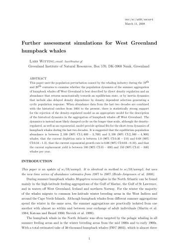 Further assessment simulations for West Greenland humpback whales