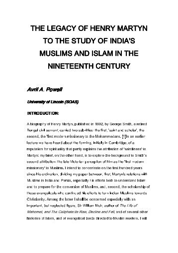 the legacy of henry martyn to the study of india's muslims and islam ...