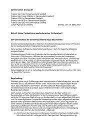 Gemeinsamer Antrag der Fraktion der CSU im Gemeinderat Seefeld ...