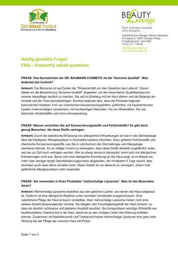 Häufig gestellte Fragen FAQ – frequently asked questions