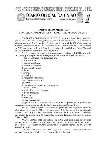 GABINETE DO MINISTRO PORTARIA NORMATIVA Nº- 6 ... - FIBRA.