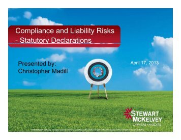 Compliance and Liability Risks - Statutory ... - Stewart McKelvey
