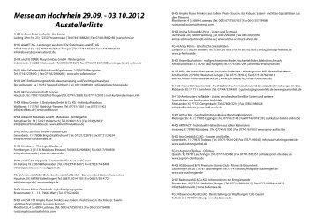 Messe am Hochrhein 29.09. - 03.10.2012 Ausstellerliste