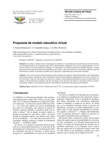 Propuesta de modelo educativo virtual - Facultad de Física ...