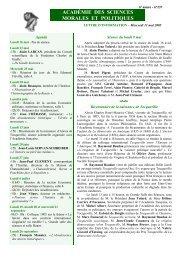 Mercredi 11 mai 2005 - Académie des sciences morales et politiques