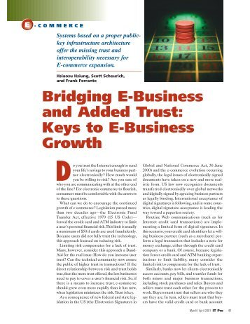 Bridging e-business and added trust: keys to e-business growth - IT ...