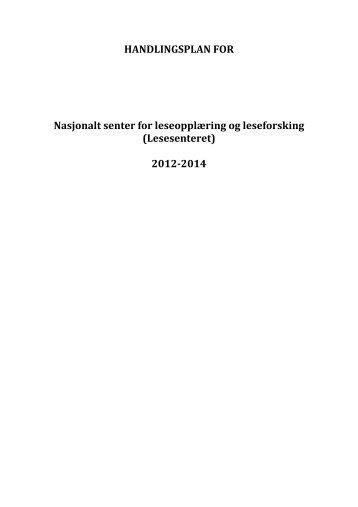 Handlingsplan - Lesesenteret - Universitetet i Stavanger