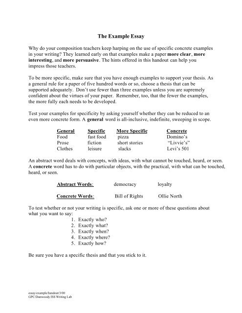Thesis Statements For Essays  Sample High School Essays also Essay On Healthy Living The Example Essay  Gpc Home Sample Essay Thesis