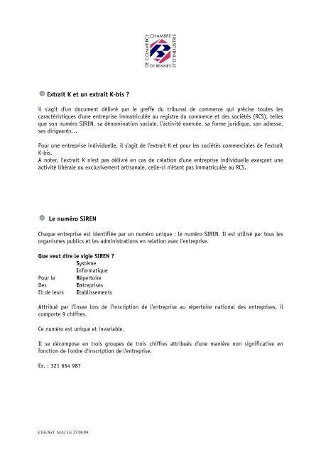 Extrait K Et Un Extrait K Bis Cci Rennes