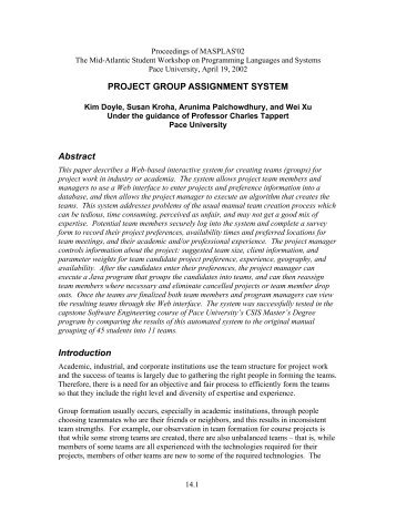 Project Group Assignment System - Pace University