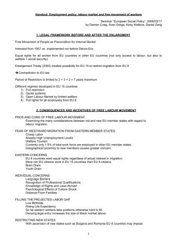 Handout: Employment policy, labour market and free movement of ...