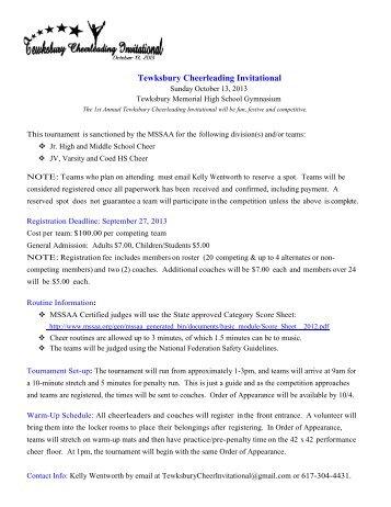 Tewksbury Cheerleading Invitational