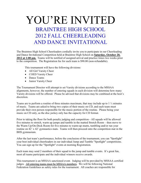 2012 BRAINTREE CHEER And DANCE Invite Letter