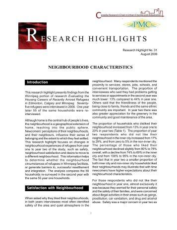 Neighbourhood Characteristics - University of Winnipeg