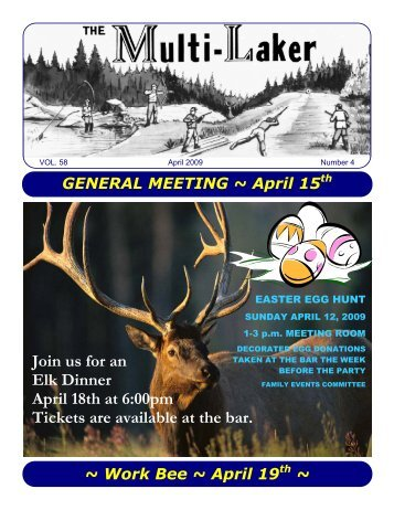 Join us for an Elk Dinner April 18th at 6:00pm Tickets ... - Multi Lakes