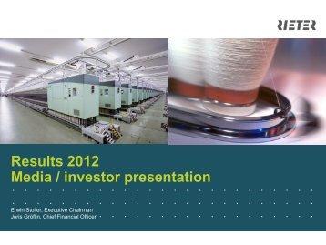 Presentation Results 2012 - Rieter
