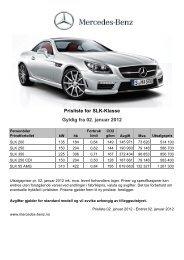 Gyldig fra 02. januar 2012 - Mercedes Benz