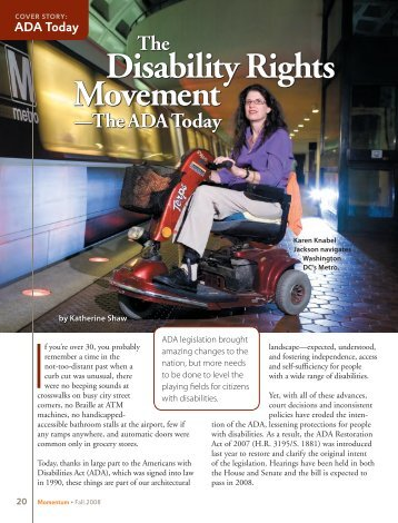 ADA Today The Disability Rights Movement