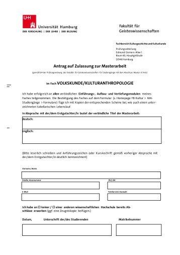 Antrag auf Zulassung zur Masterarbeit - Fachbereich ...
