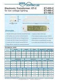 Electronic Transformer: ET-C for low voltage lighting ... - Mode Lighting