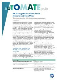 HP StorageWorks D2D Backup Systems and StoreOnce - Lynx ...